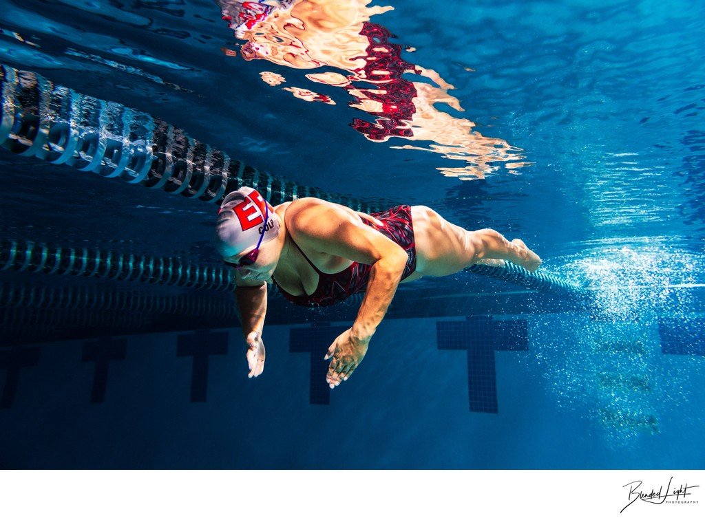 Breaststroke pullout underwater image of NC swimmer