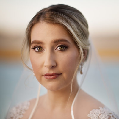 Bridal portrait over Cape Fear River