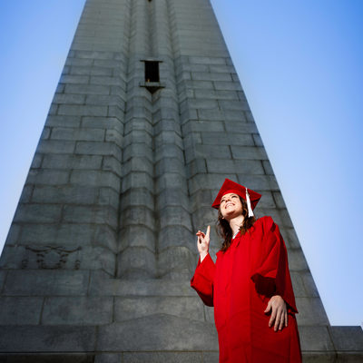 Raleigh Photographer NCSU Senior Portrait at Belltower