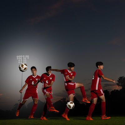 Soccer kick composite from high school soccer player
