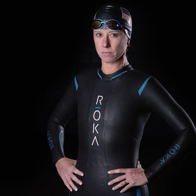 Intense portrait of female triathlete