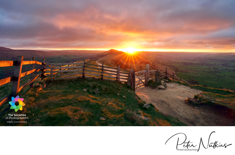 View Sunrise From Mam Tor Across The Great Ridge