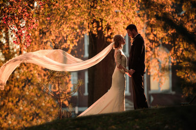 Bride and Groom at Drury Stone Chapel in Springfield