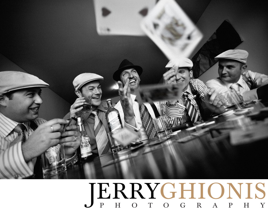 Groom and Guys Playing Cards in Las Vegas