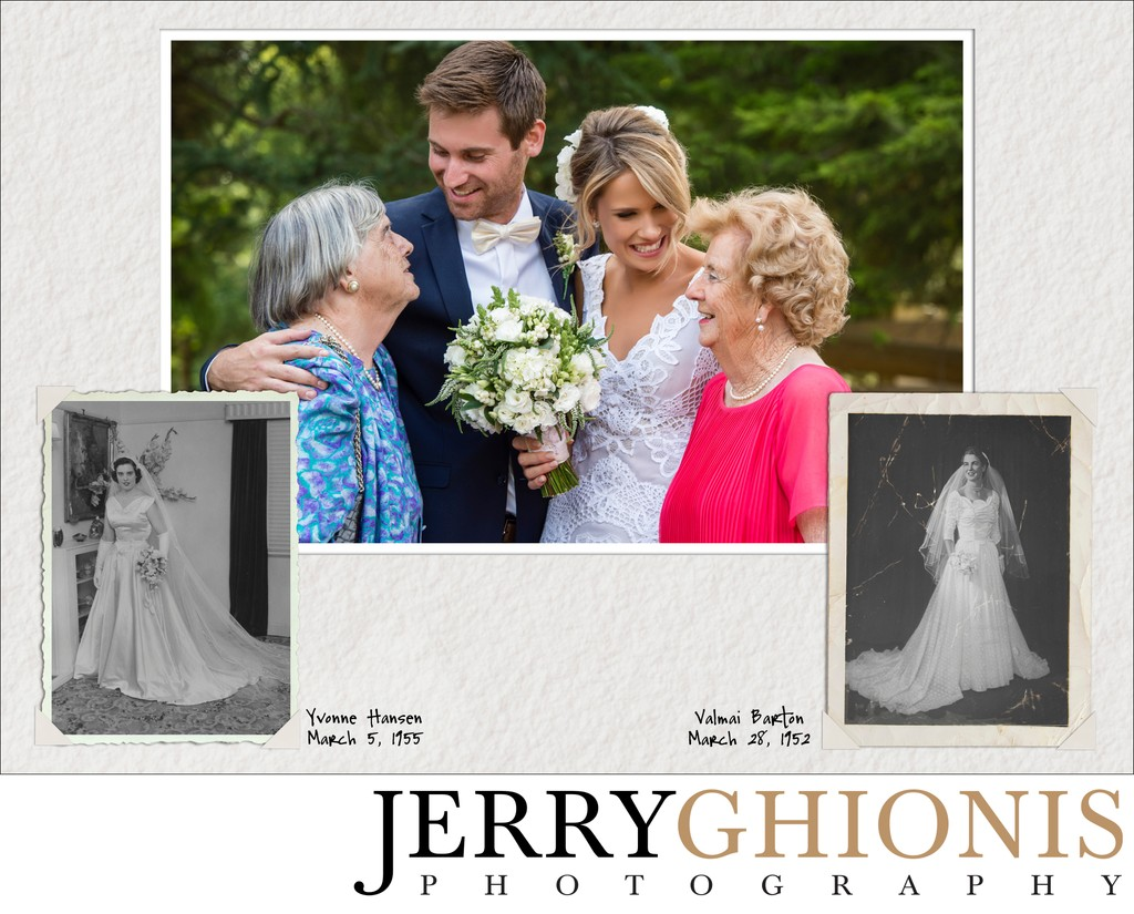 Couple with Grandmothers and their Wedding Portraits