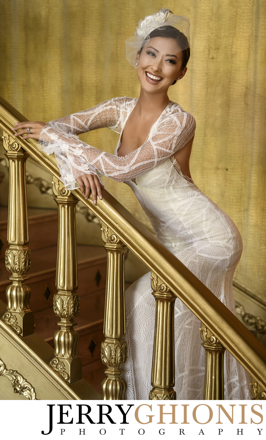 Bride on Gold Staircase in Las Vegas