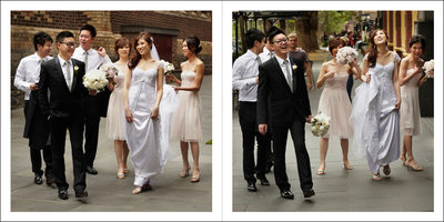Casual Wedding Party Walking Photos