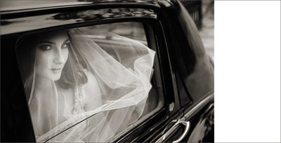Bride in Limo, B&W Photo