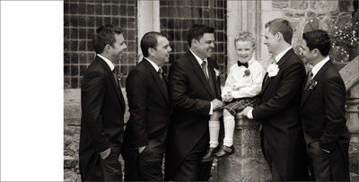 Groom with Groomsmen and Scottish Page Boy