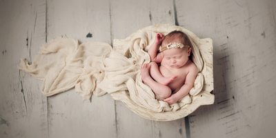 Organic newborn image with farmhouse feel