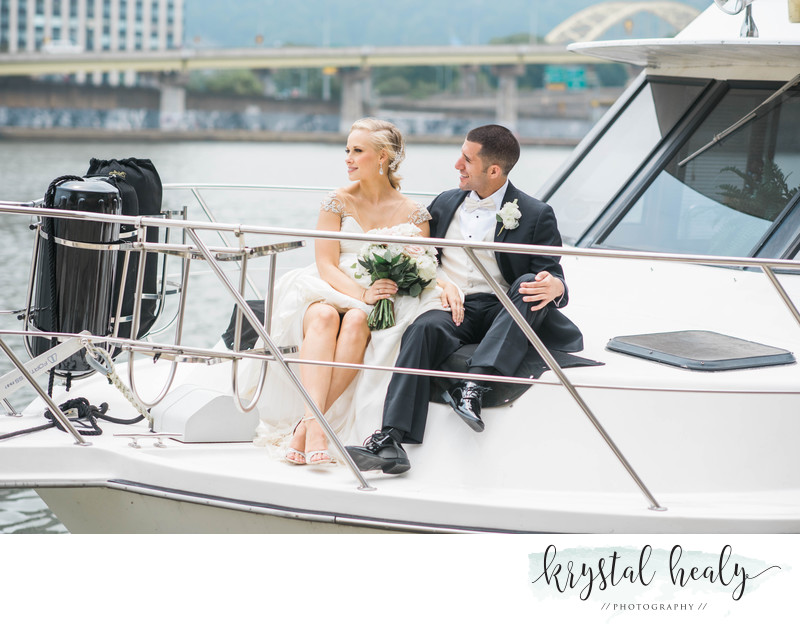 Bride and Groom on a Yacht on Pittburgh's North Shore