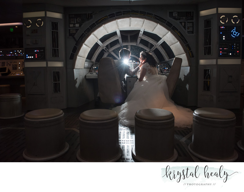 Wedding couple in the Millennium Falcon - Disney Cruise