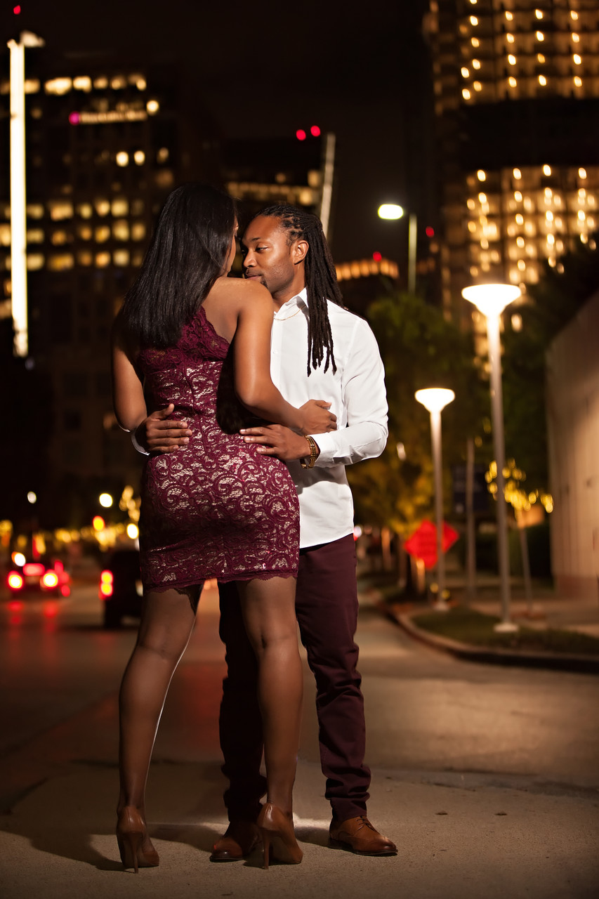 Dallas City Lights Engagement Portraits