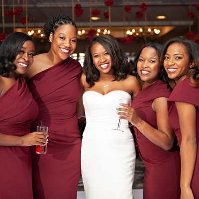 Bride and Bridesmaids at the Tower Club
