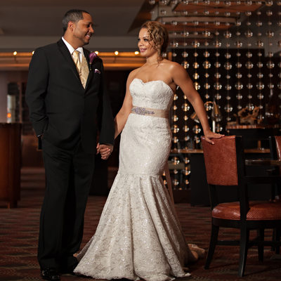 Tower Club Wedding Bride and Groom