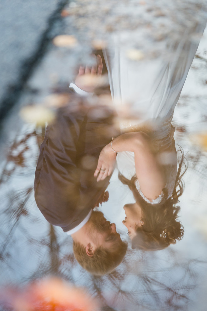Door County Puddle Reflection Bride and Groom - Milwaukee Wedding Photographer - Joel Nisleit