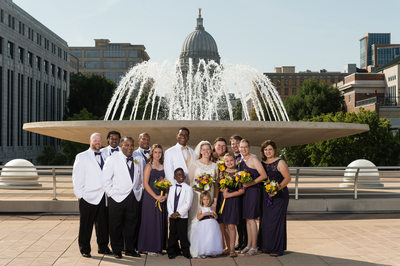Bridal Party at Monona Terrace Madison Fountain