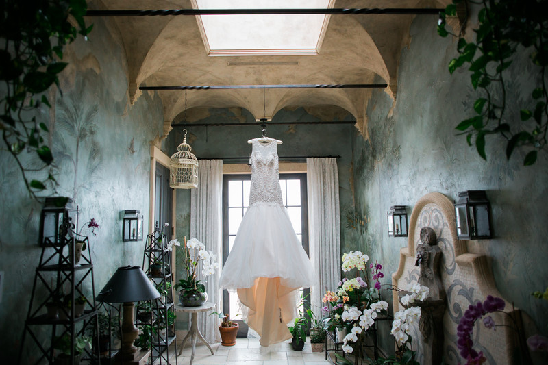 Dress in Orchid Room, Private Estate Wedding