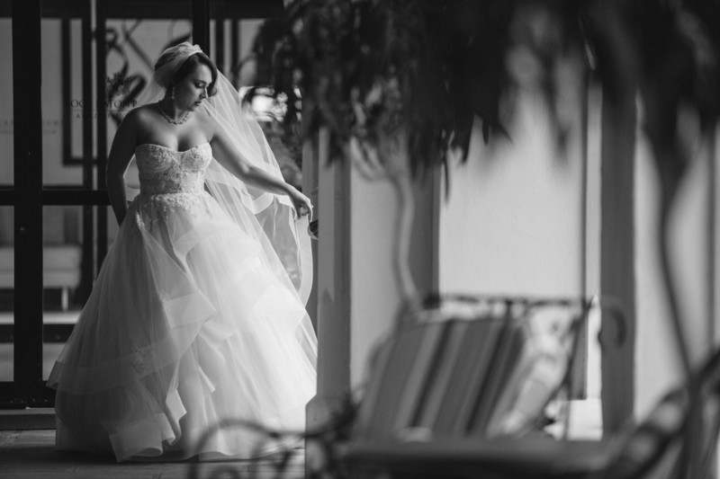 Boca Resort Hotel, Bridal Portrait in Monique Lhuillier