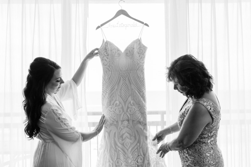 Mother & bride admire dress, Hilton Singer Island
