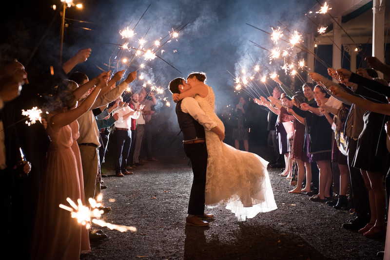 Grand Isle Lake House wedding Sparkler send off