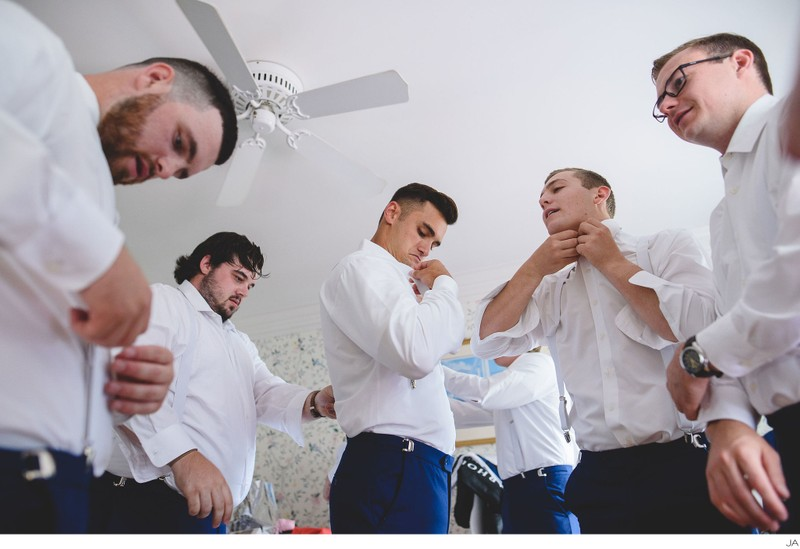 Groomsmen getting ready at the Colony Hotel