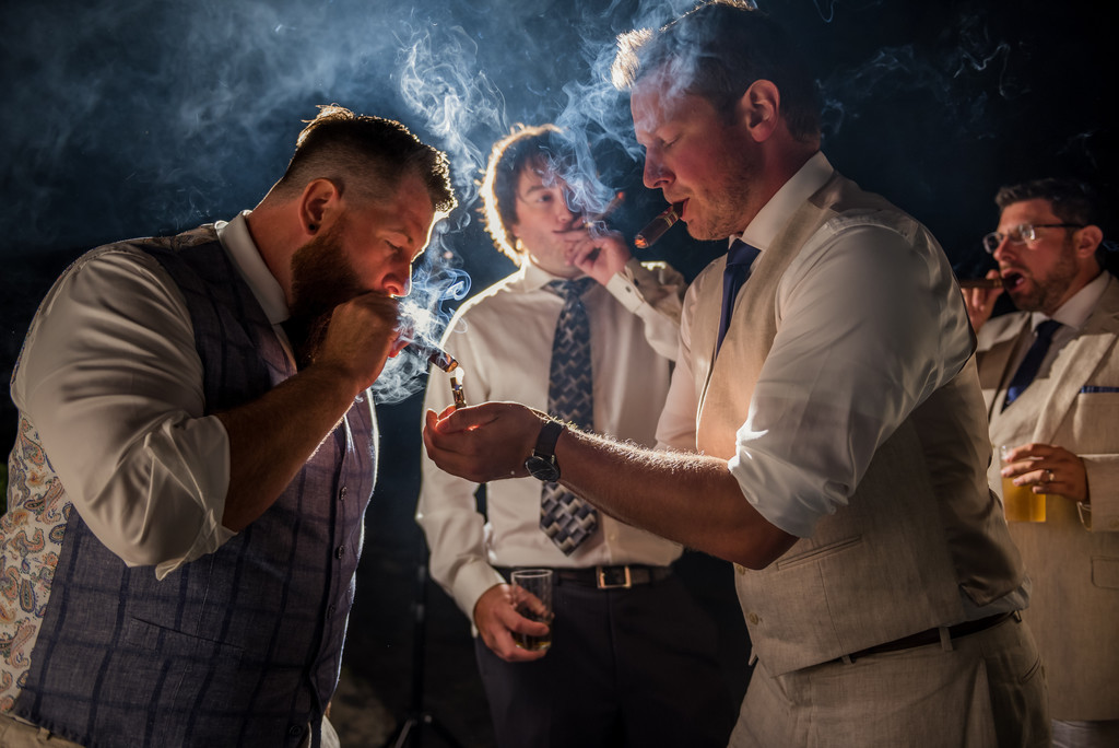 Cigars with the Groomsmen