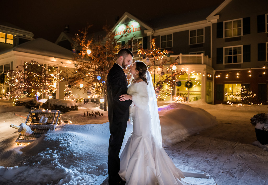 Snowy Winter Wonderland Maine Wedding