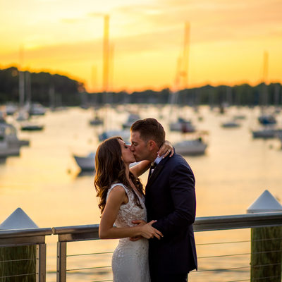 The Harbor Club at Prime,  Huntington NY  wedding kiss