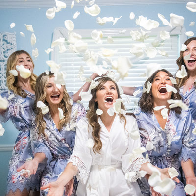 Long Island Bridesmaids with confetti