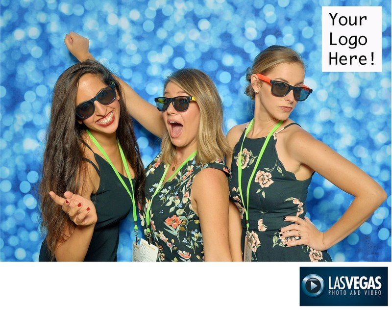 corporate photo booth with guests & your logo here