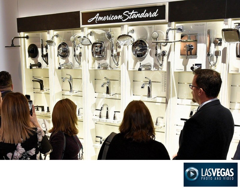 Trade show booth photographer bathroom fixtures display