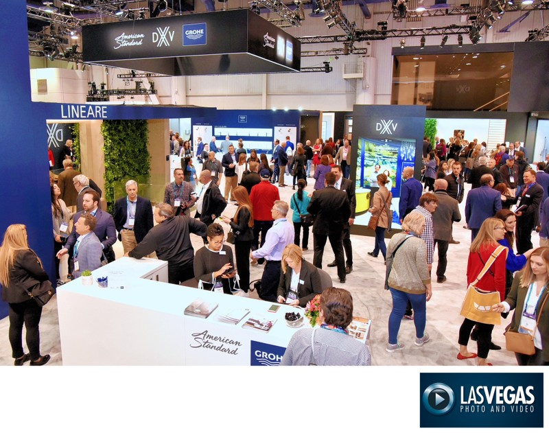 Corporate Photography of a very busy tradeshow booth