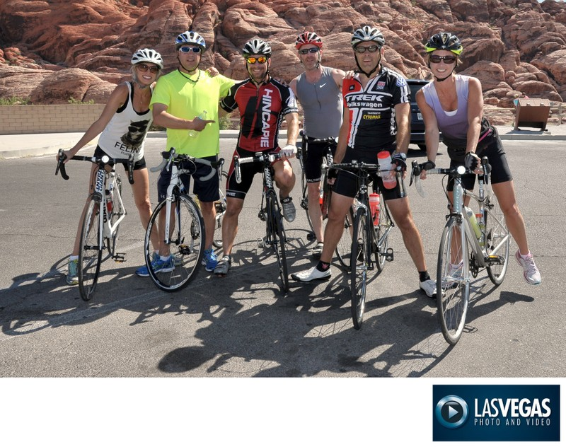 Corporate photography of guests with champion cyclist