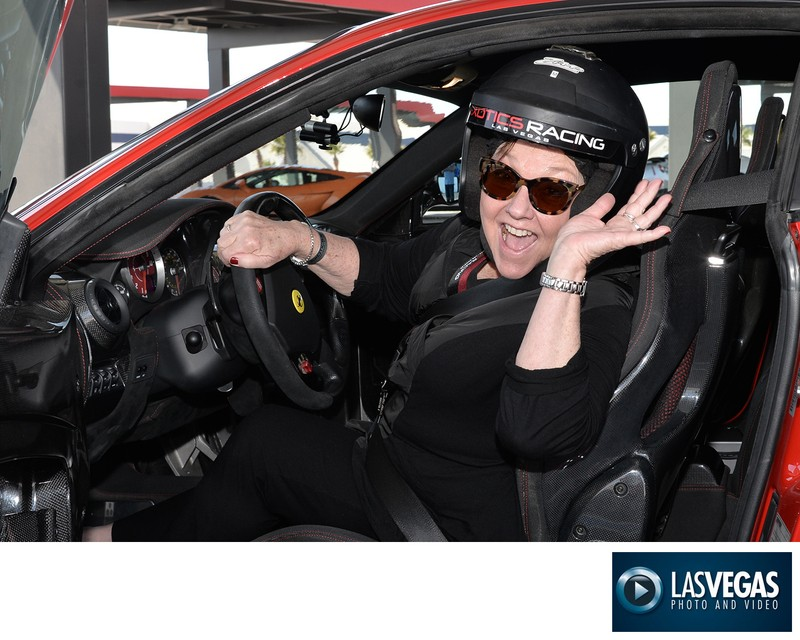 Excited Luxury Sports Car driver at Exotics Racing