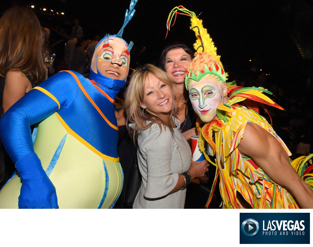 Corporate photography with colorful Cirque characters