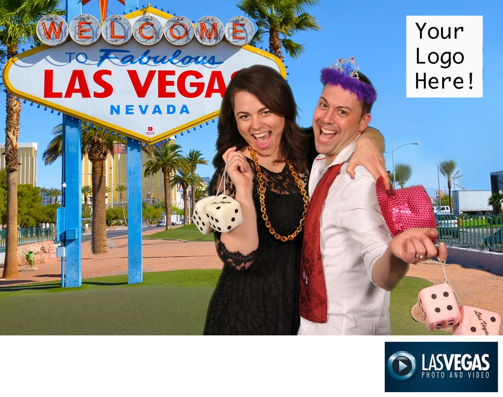 Green screen photo at a corporate event with LV sign