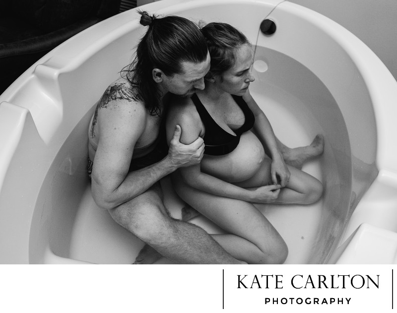 Labor dance in birth tub