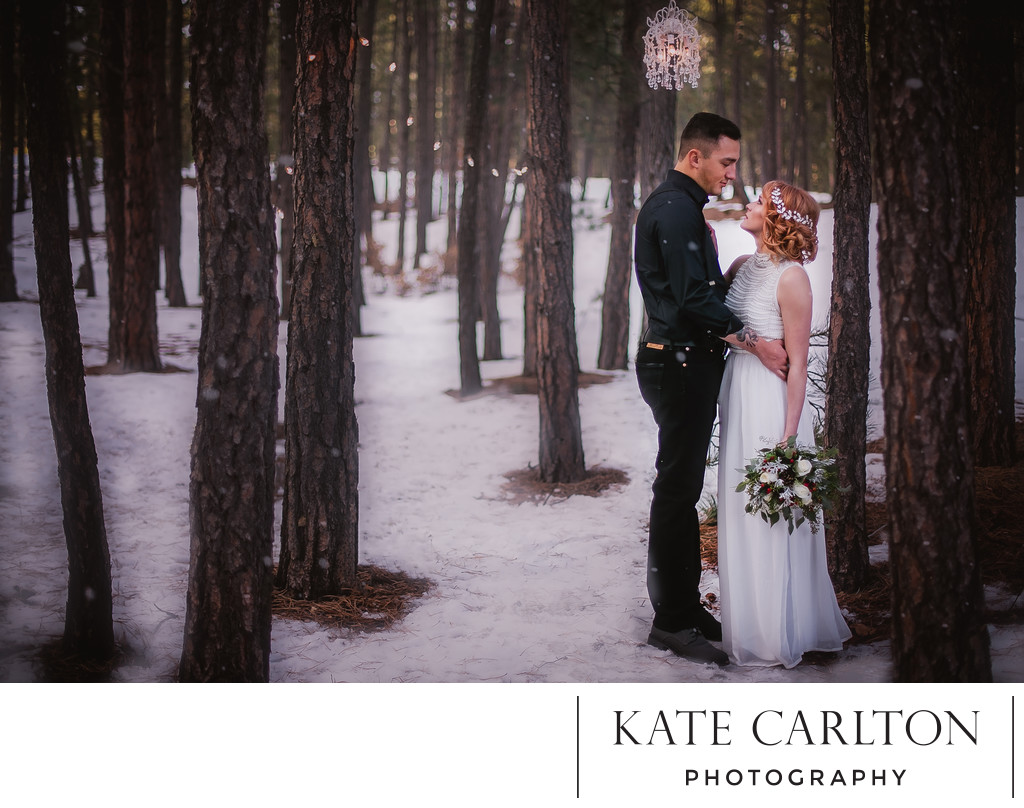 Beautiful Wooded Winter Wedding Photography