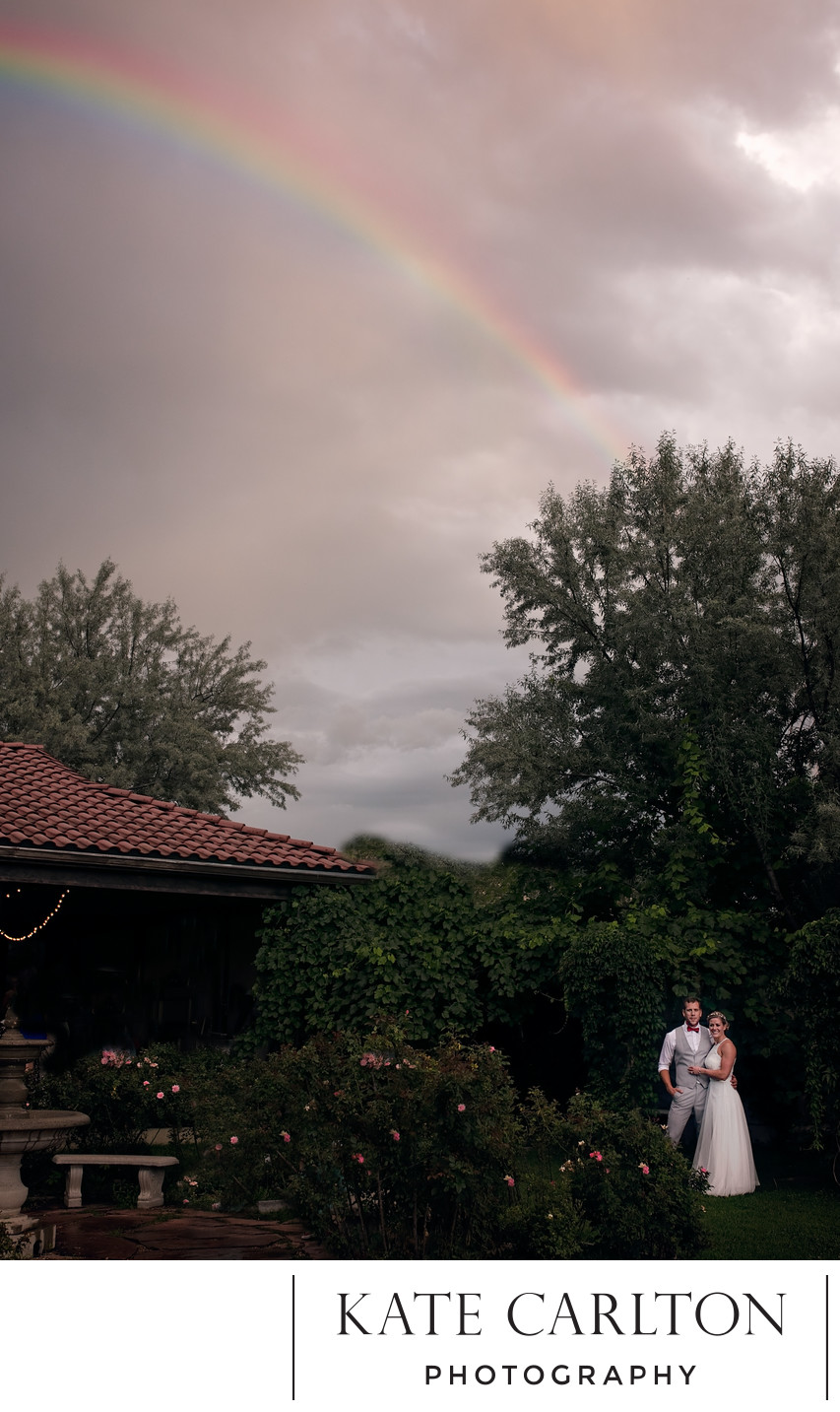 Garden Rainbow Wedding Photographer