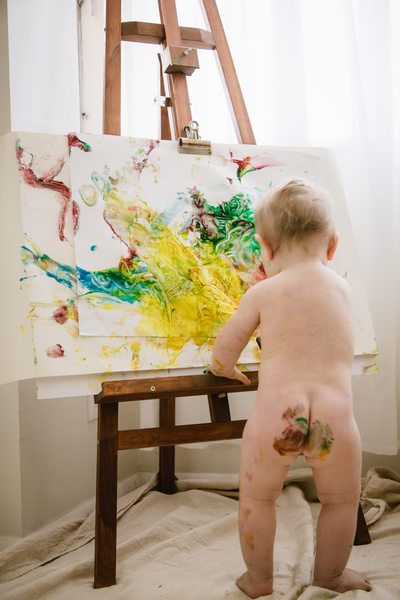 1 Year Old Baby Paint and Bath Portrait Photography