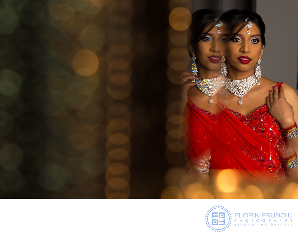 Toronto, Canada -Sherry's engagement portrait in the luxurious red indian dress in front of mirror with reflections