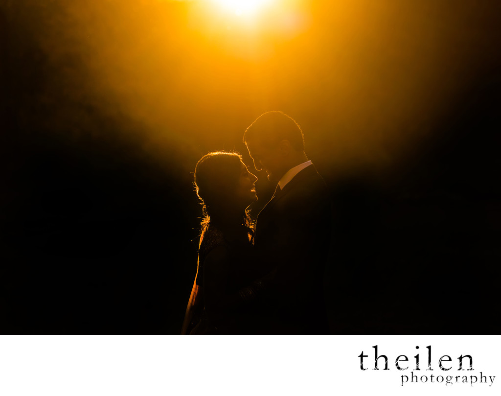 Lake Tahoe Sunset Light Wedding Portrait
