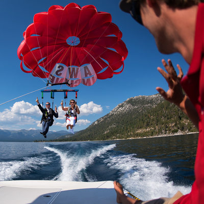Lake Tahoe Parasailing Bride and Groom