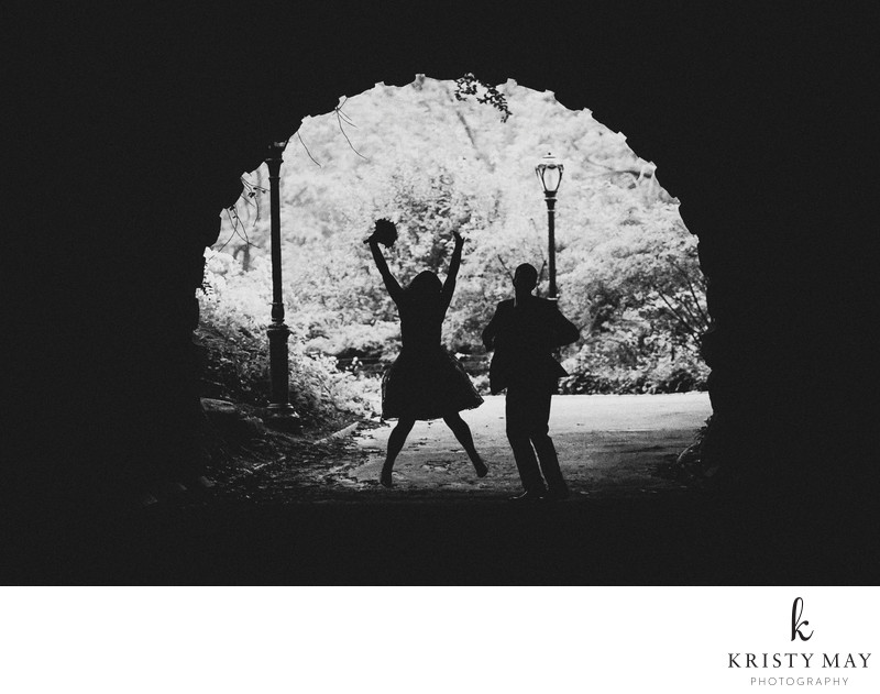 Bride jumps for joy in Central Park tunnel