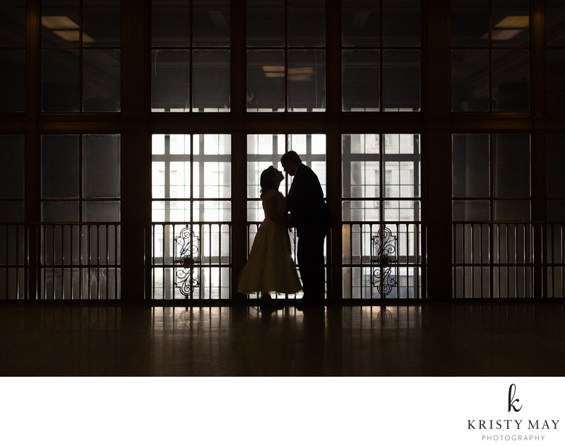 About to kiss at Brooklyn Marriage Bureau in silhouette