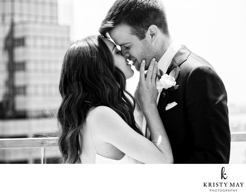New York Rooftop First Look Bride and Groom Kiss