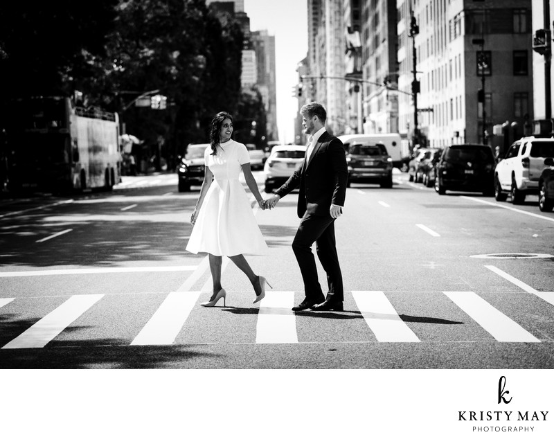 Wedding Couple Crosswalk NYC