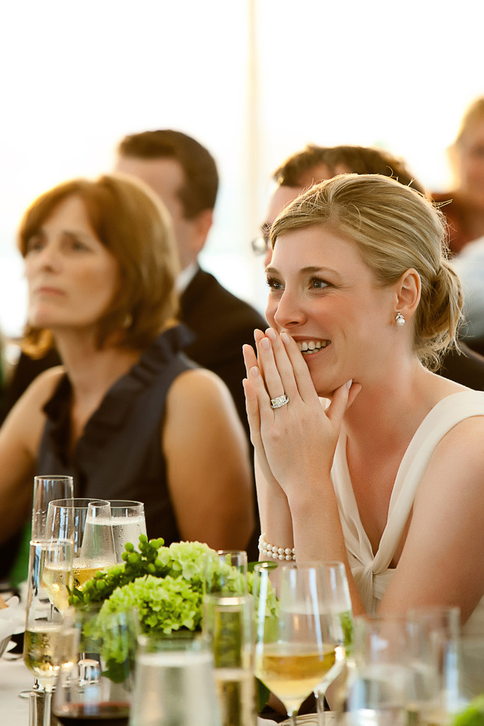 A Bride Reacts to a Speech at her Wedding Reception
