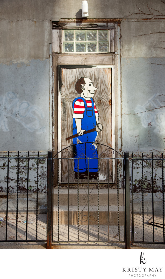 Williamsburg Plumber Caricature on a Door, 2009